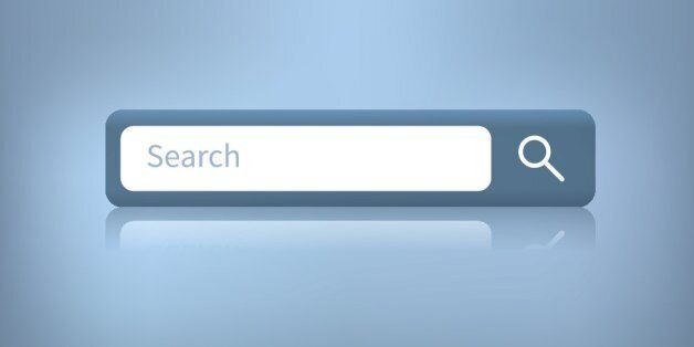 Search web form for website. Illustration of a web search bar isolated on a blue