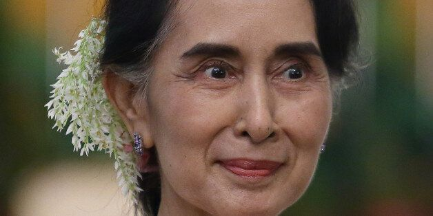 SINGAPORE - NOVEMBER 30: Myanmar State Counsellor Aung San Suu Kyi is seen at the Istana on November...
