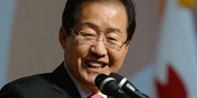 홍준표 자유한국당 대선주자가 22일 부산 해운대구 벡스코에서 열린 '자유한국당 부산-울산-경남 제19대 대통령후보자 비전대회'에서 비전발표를 하고