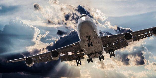 jumbo jet airplane landing in