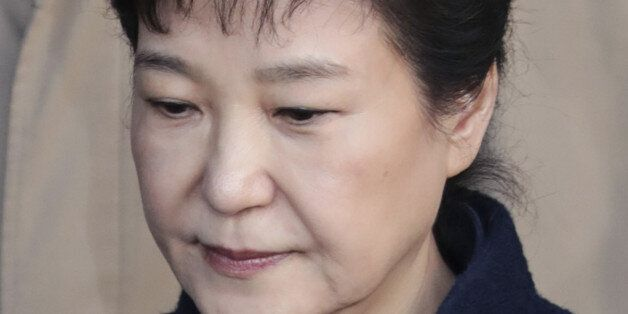 Former South Korean President Park Geun-hye, leaves the prosecutors' office in Seoul, South Korea, on...