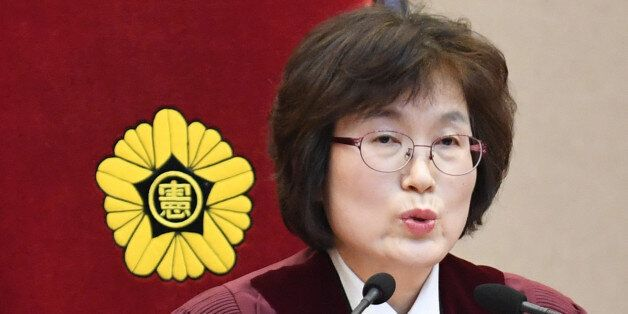 South Korean acting Constitutional Court's Chief Judge Lee Jung-mi during final ruling of President Park...