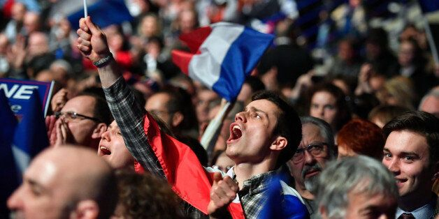 NANTES, FRANCE - FEBRUARY 26: Far right supporters attend a presidential campaign rally by National Front...