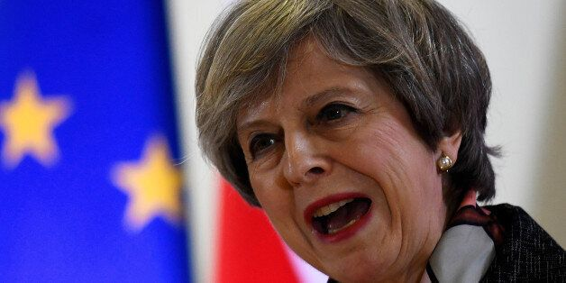 Britain's Prime Minister Theresa May attends a news conference during the EU Summit in Brussels, Belgium,...