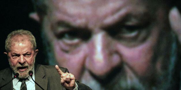 Brazil's former president (2003-2011) Luiz Inacio Lula da Silva speaks during the second congress of...