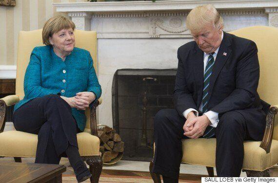 메르켈과 트럼프의 어색한 순간을 담은 사진에 '포토샵 전쟁'이