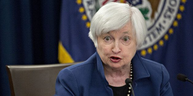 Janet Yellen, chair of the U.S. Federal Reserve, speaks during a news conference following a Federal...