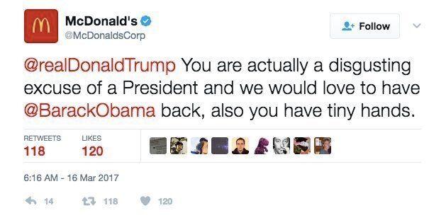 맥도날드 트위터가 트럼프를