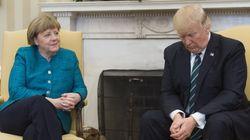 메르켈과의 악수를 거부한 트럼프는 꼭 심통 난 아이