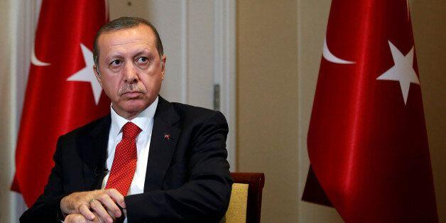 Turkish President Tayyip Erdogan prepares for an interview in New York City, U.S. September 19, 2016....