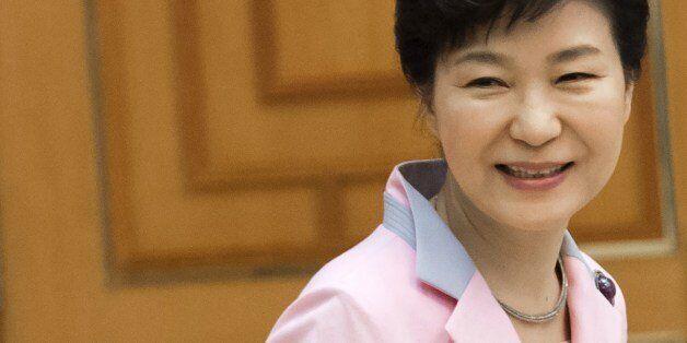 South Korea's President Park Geun-hye awaits the arrival of US Secretary of State John Kerry for a meeting...