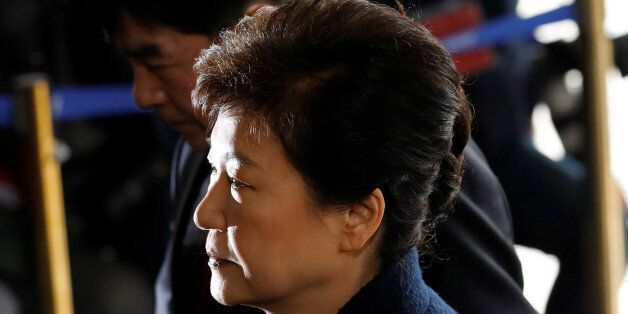 South Korea's ousted leader Park Geun-hye arrives at a prosecutor's office in Seoul, South Korea, March...
