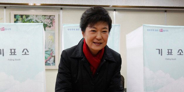South Korea's presidential candidate Park Geun-hye of conservative and right wing ruling Saenuri Party...