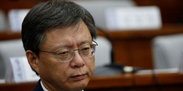 Former presidential secretary Woo Byung-woo attends a hearing at the National Assembly in Seoul, South...