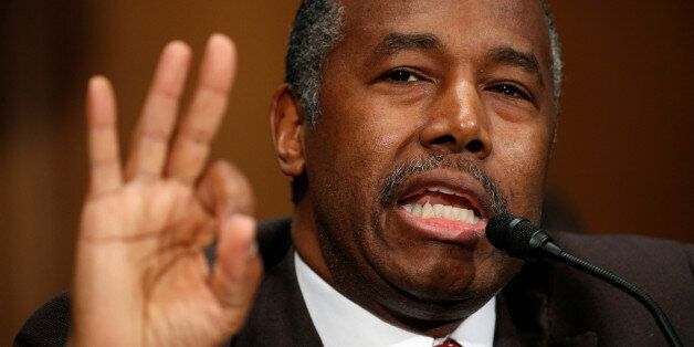 Dr. Ben Carson testifies before a Senate Banking, Housing and Urban Affairs Committee confirmation hearing...