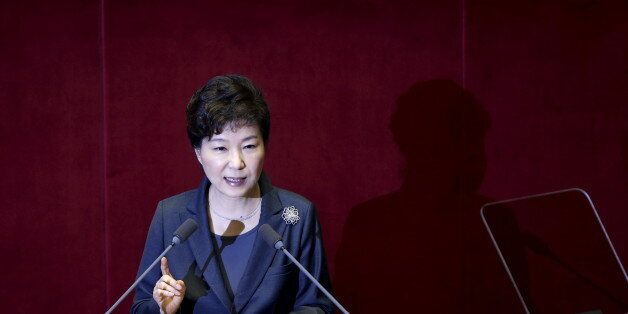 South Korean President Park Geun-hye delivers her speech on the 2016 budget bill during a plenary session...