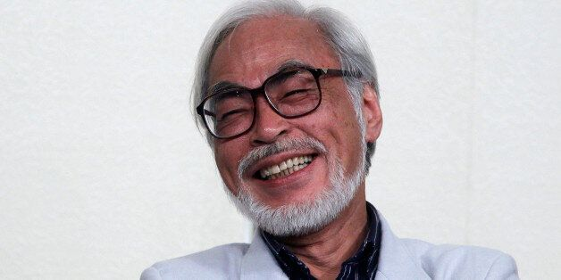 Japanese director Hayao Miyazaki speaks during a news conference held to announce his retirement from...