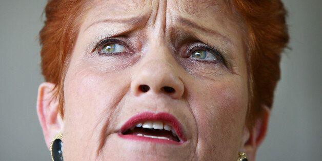SUNSHINE COAST, AUSTRALIA - DECEMBER 08: Senator Pauline Hanson speaks with the media and local taxi...