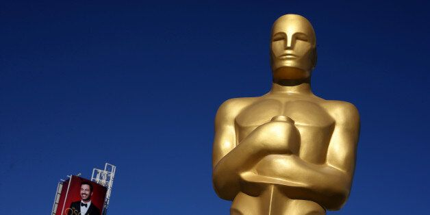An Oscar statue is seen outside the Dolby Theatre as preparations continue for the 89th Academy Awards...