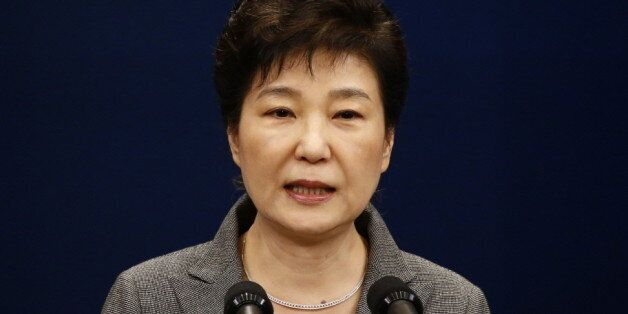 South Korean President Park Geun-Hye speaks during an address to the nation, at the presidential Blue...