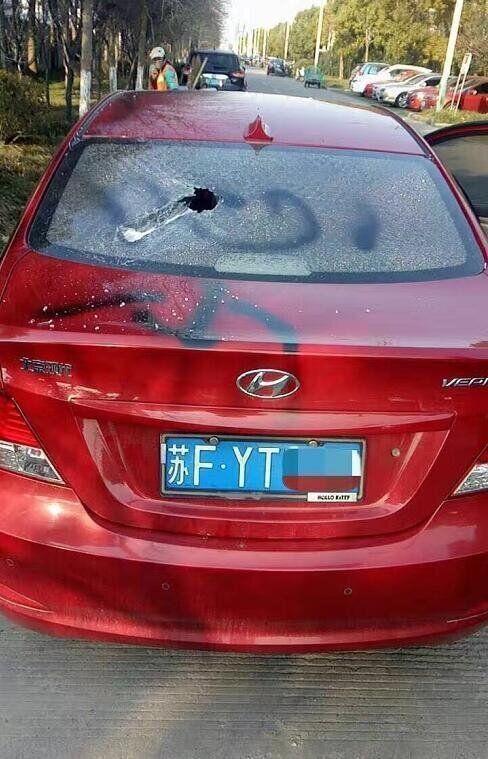 중국에서 현대차가 파손되는 사진이