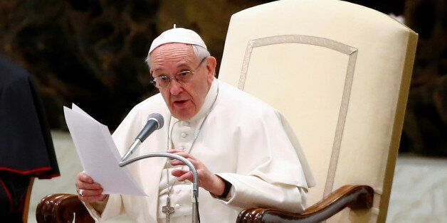 Pope Francis leads his Wednesday general audience at the Paul VI audience hall in Vatican City February...
