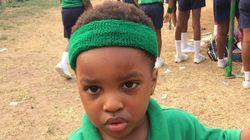 이 아이가 달리기 대회에서 진 사랑스러운