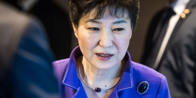 South Korean President Park Geun-Hye looks on during the France-Korean business partnership meeting in...