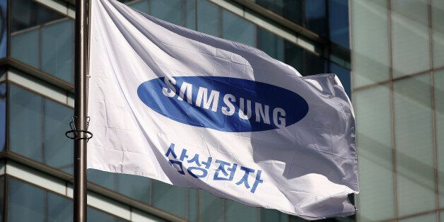 A flag bearing the logo of Samsung Electronics is pictured at its headquarters in Seoul, South Korea,...
