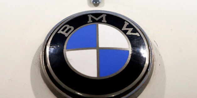 The logo of German manufacturer BMW is seen at a 1957 BMW 503 Coupe Serie 1 car during a preview of an...