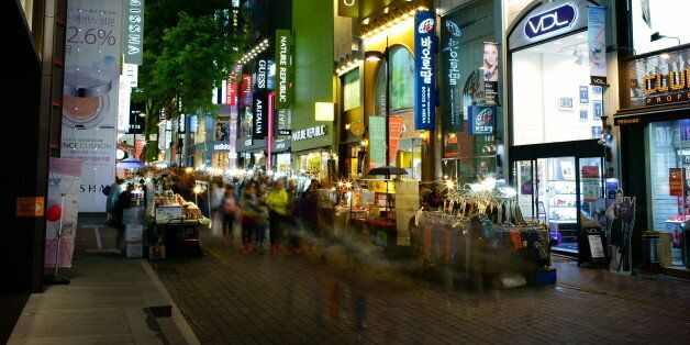 Myeongdong shopping street at night in Seoul. Seoul, South Korea,