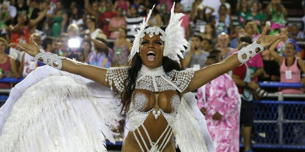 Drum queen Evelyn Bastos from Mangueira samba school performs during the second night of the carnival...