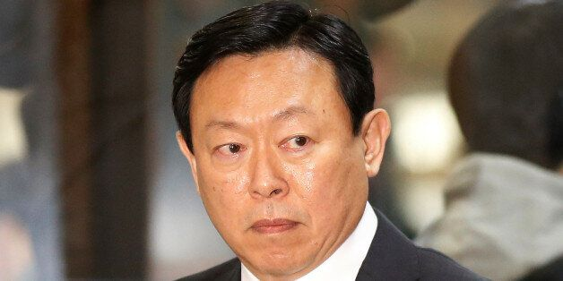 Lotte Group chairman Shin Dong-bin arrives to attend a hearing at the National Assembly in Seoul, South...