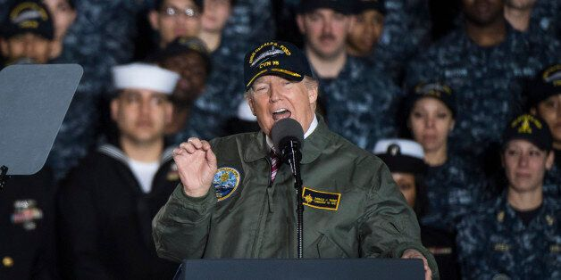 NEWPORT NEWS, VA - MARCH 2: President Donald Trump speaks to Navy and shipyard personnel aboard nuclear...