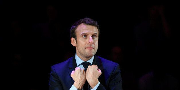 Emmanuel Macron, candidate in France's 2017 French presidential election, delivers an address for French...