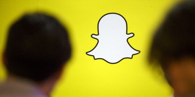 The Snapchat logo is displayed during the TechFair LA job fair in Los Angeles, California, U.S., on Thursday,...