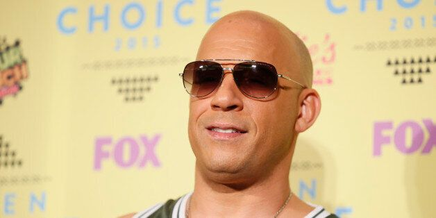 Actor Vin Diesel poses backstage at the 2015 Teen Choice Awards in Los Angeles, California, United States...