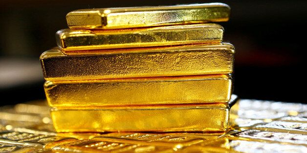 Gold bars are seen at the Austrian Gold and Silver Separating Plant 'Oegussa' in Vienna, Austria, March...