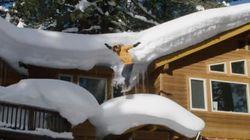 동네에 눈이 많이 와서 스노우보드를