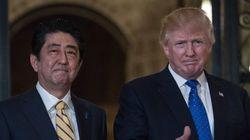 트럼프와 아베가 북한의 탄도미사일 발사를