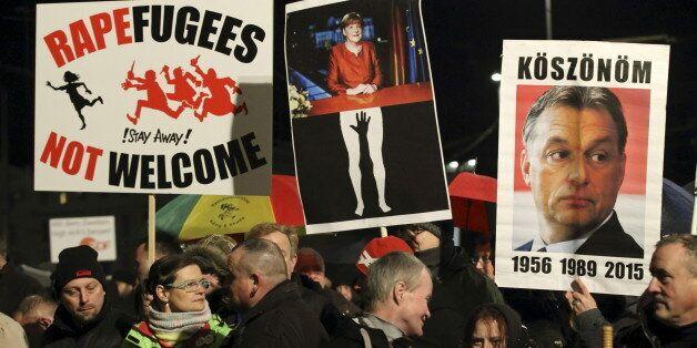 Members of LEGIDA, the Leipzig arm of the anti-Islam movement Patriotic Europeans Against the Islamisation...