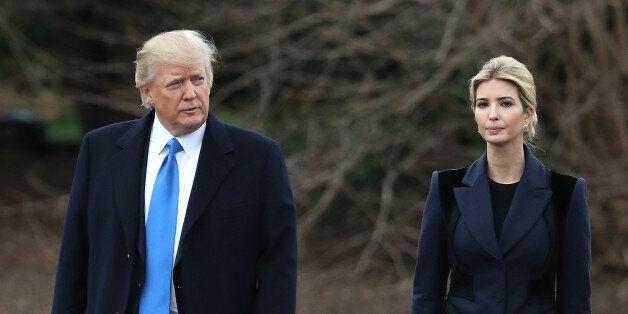 WASHINGTON, DC - FEBRUARY 01: U.S. President Donald Trump and his daughter Ivanka Trump walk toward Marine...
