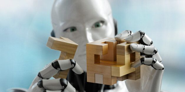 3D render os a humanoid robot trying to solve a 3D wooden puzzle. Rendered with depth of