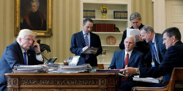 U.S. President Donald Trump (L-R), joined by Chief of Staff Reince Priebus, Vice President Mike Pence,...