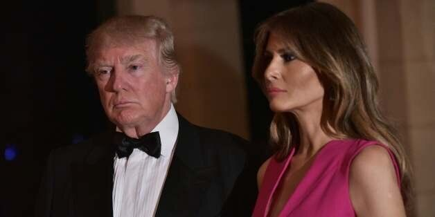 US President Donald Trump and First Lady Melania Trump arrive for the 60th Annual Red Cross Gala at his...