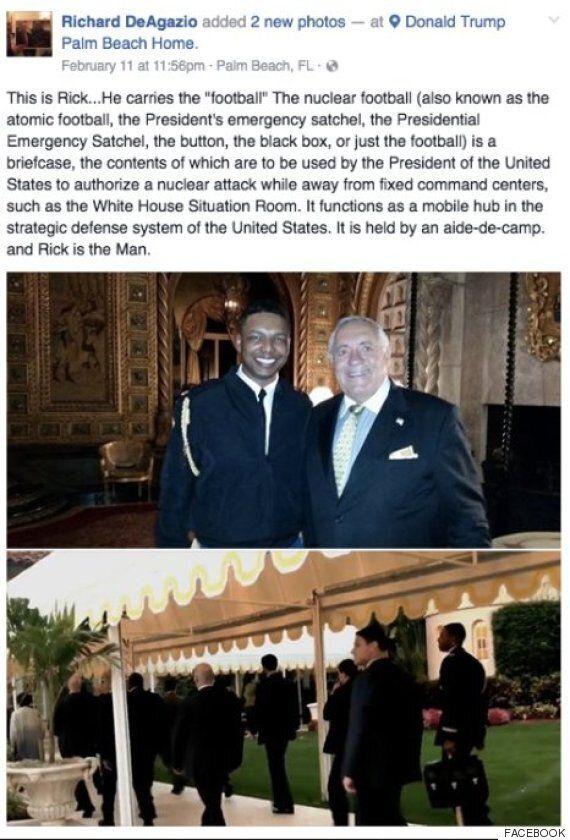 도널드 트럼프가 자신의 개인 클럽에서 민감한 안보 정보를 리뷰하는 사진들이