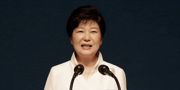 South Korean President Park Geun-hye delivers her speech during a ceremony to celebrate Korean Liberation...
