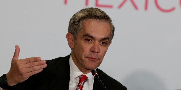 Mexico City's Mayor Miguel Angel Mancera speaks to the media during a news conference at the C40 Mayors...