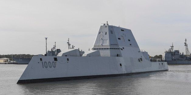 The guided-missile destroyer USS Zumwalt (DDG 1000) transits Naval Station Mayport Harbor on its way...