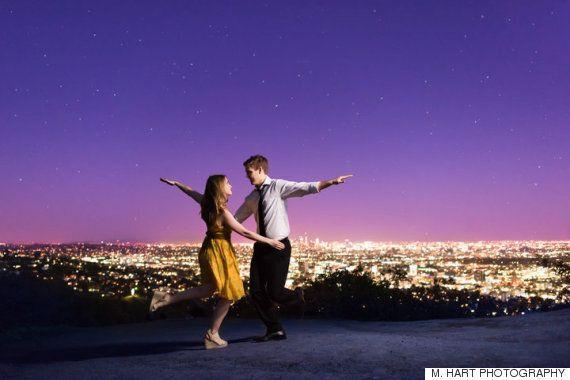 '라라랜드'의 촬영장소에서 약혼 사진을 찍은 커플의